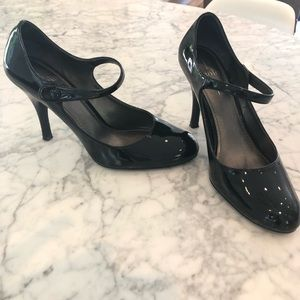 LINEA PAOLO Black Patent Leather Mary Jane Heels